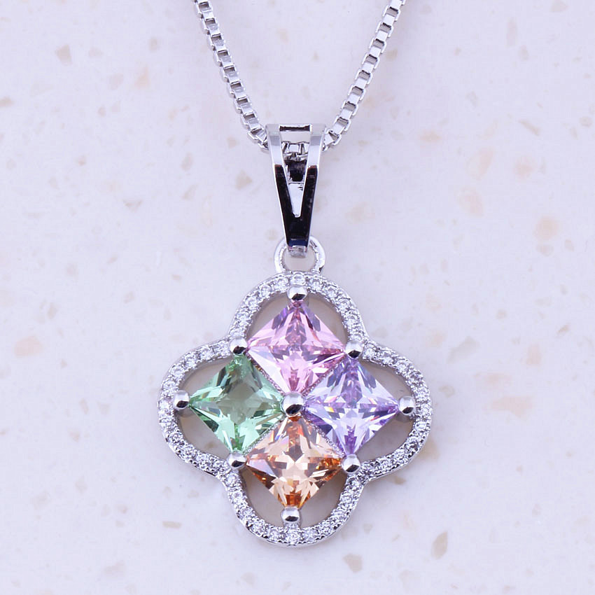 Wonderful Multicolor Imitation Multigem Silver Color Pendants Necklaces Women Trend Fashion Jewelry Wedding Accessories B0047