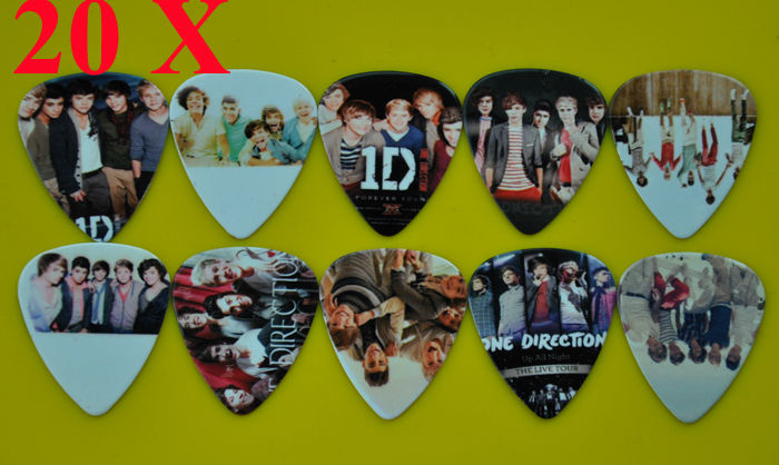 Lots of 20Pcs Rock Band 1 D One Direction 2 sides printing Guitar Picks Medium