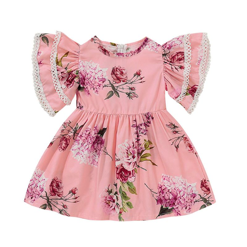 2019 Cute Newborn Toddler Kids Baby Girl Sister Matching Clothes Ruffles Floral Princess Dress T-shirt Tops Bib Pants Outfits(China)