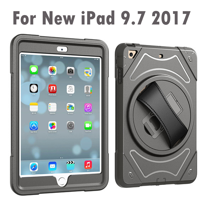 För Apple New iPad 9,7 tums 2017 & 2018 Handbälthållare Full Body Armour Shockproof Case Cover för New iPad A1822 A1823 A1893