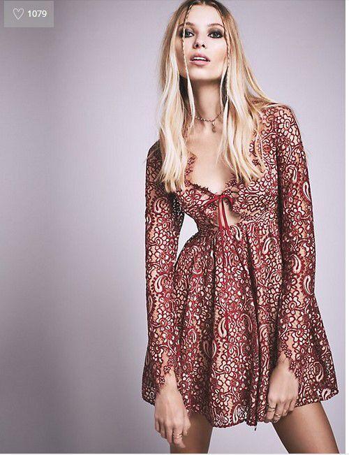 Women Love Chic Gypsy Punk Charlie Mini Dress Sexy Deep V-neck See Through Crochet Lace Mini Dress For Honeymoon Holiday Beach see thru mini lace dress