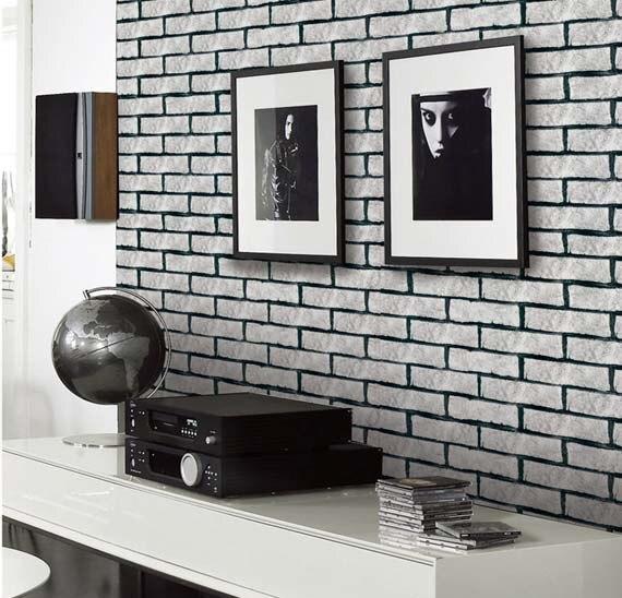 US $30.38 11% di SCONTO|3D vintage classico bianco mattoni carta da parati  per soggiorno, cucina, camera da letto in 3D vintage classico bianco ...