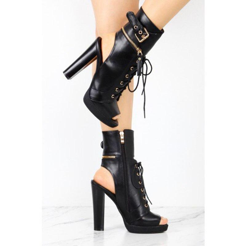 Chaussures Lace Vintage Dames Peep Toe Talon 12 Femmes Up Pompes Chunky Plus 2018 forme Brun Printemps Shoes11 Fsj01 13 Un Plate Taille Automne dvxqz7
