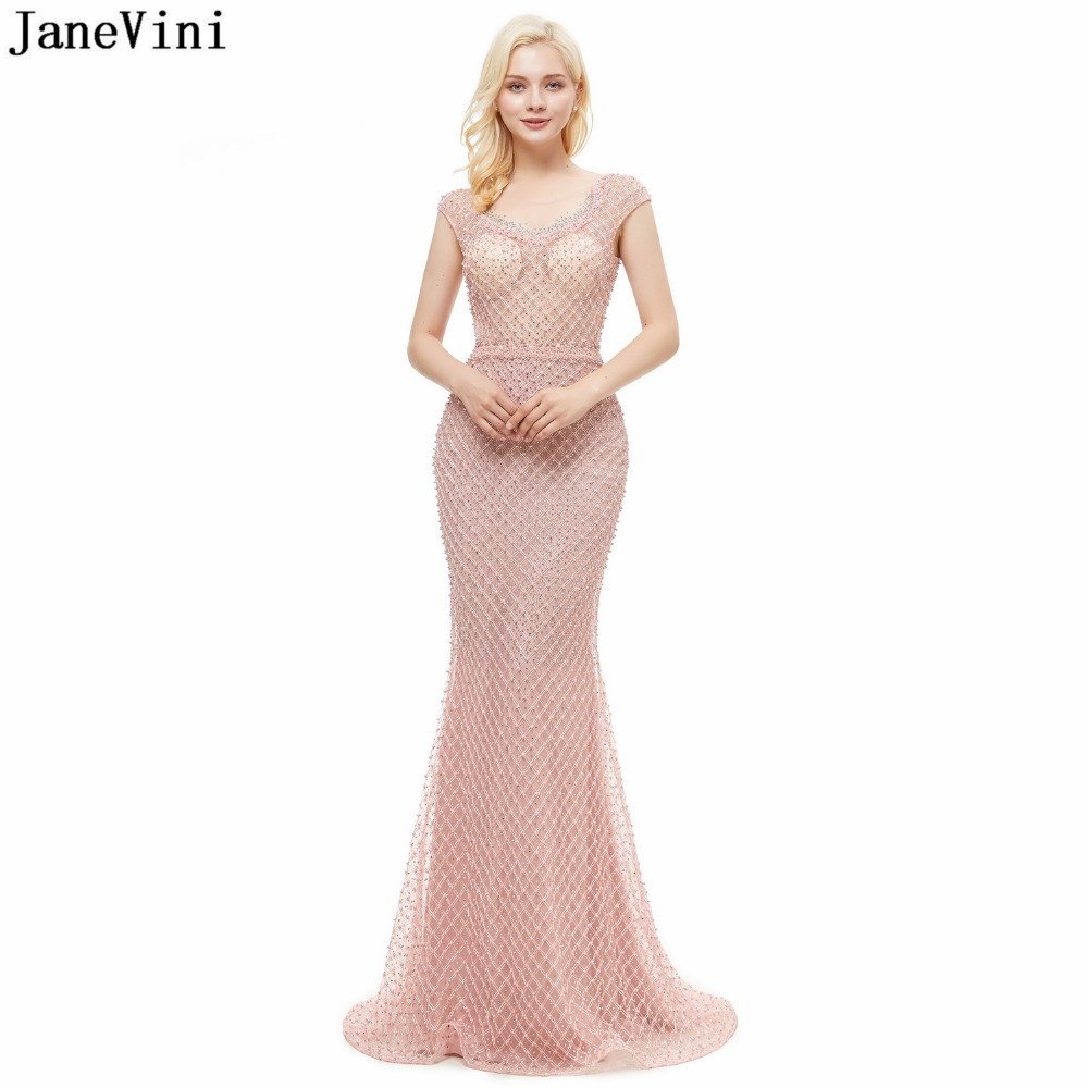 JaneVini Luxury Mermaid Long   Bridesmaid     Dresses   Elegant Pink Scoop Neck Illusion Sweep Train Tulle Beads Pearls Prom Party Gowns
