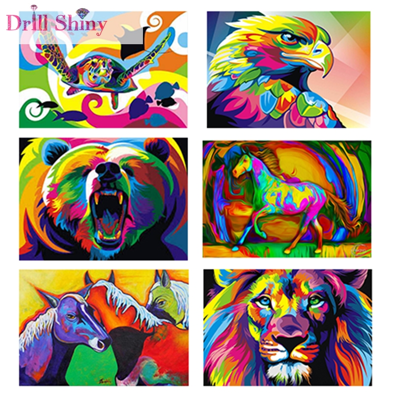 Colorful Animals 5D DIY Diamantmaleri Full Round Rhinestone Drill Needlework Pasted Broderi Mønster 3D Cross Stitch Kits