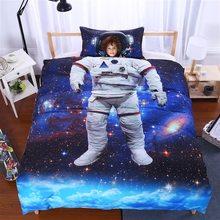 Astronauta 3D Juego de Cama de Impresión Duvet cover set Full Twin Solo patrón de Belleza Real realista efecto de sábanas
