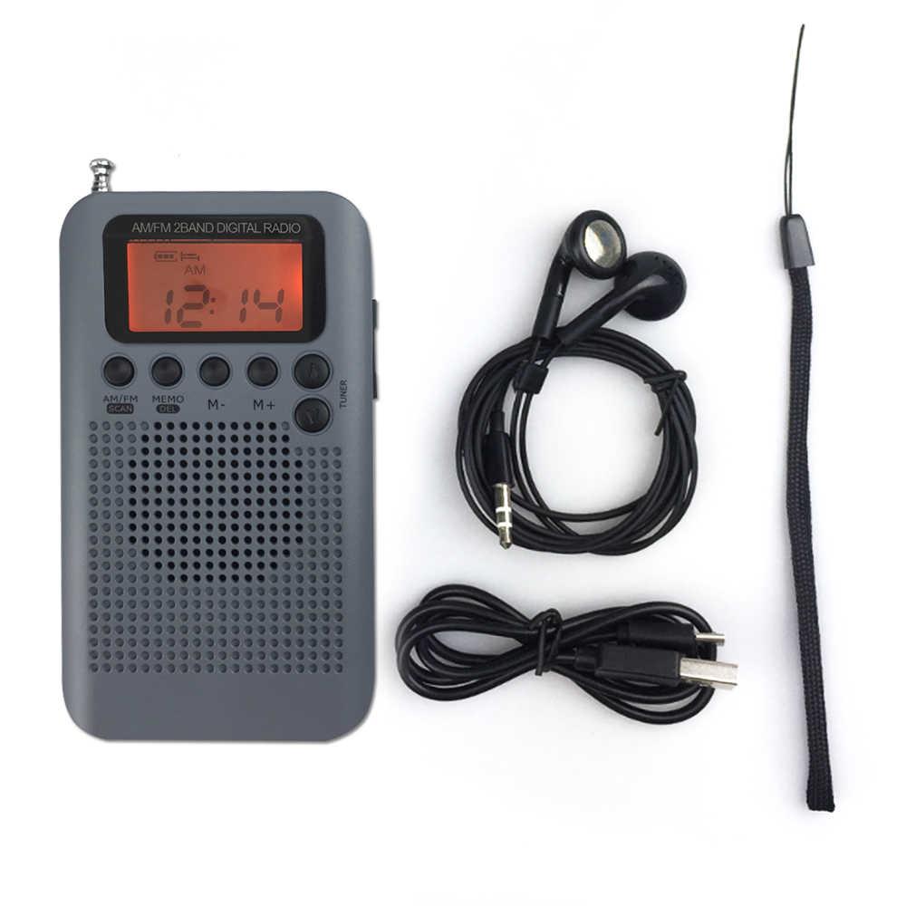 JINSERTA Mini LCD Digitale FM/AM Radio con la Sveglia e Funzione di Visualizzazione del Tempo 3.5mm Per Cuffie Martinetti e Cavo di Ricarica