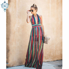 Ameision Plus Size 2019 Bohemian Women Summer Sexy Dress  Elegant Party Night Backless Hanging neck sleeveless Beach Dresses