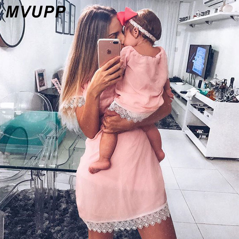 HTB1Yf6QksIrBKNjSZK9q6ygoVXat MVUPP mother daughter dresses Solid Fashion for mommy and me clothes family look mom baby elegant dress matching outfits summer