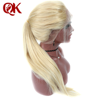QueenKing Hair Full Lace Wig 180 Density Blonde 613 Silky Straight Preplucked Hairline 100 Brazilian Human