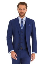 New Arrival Two Button Blue Groom Tuxedos Groomsmen Men's Wedding Prom Suits Custom Made (Jacket+Pants+Vest+Tie) K:396