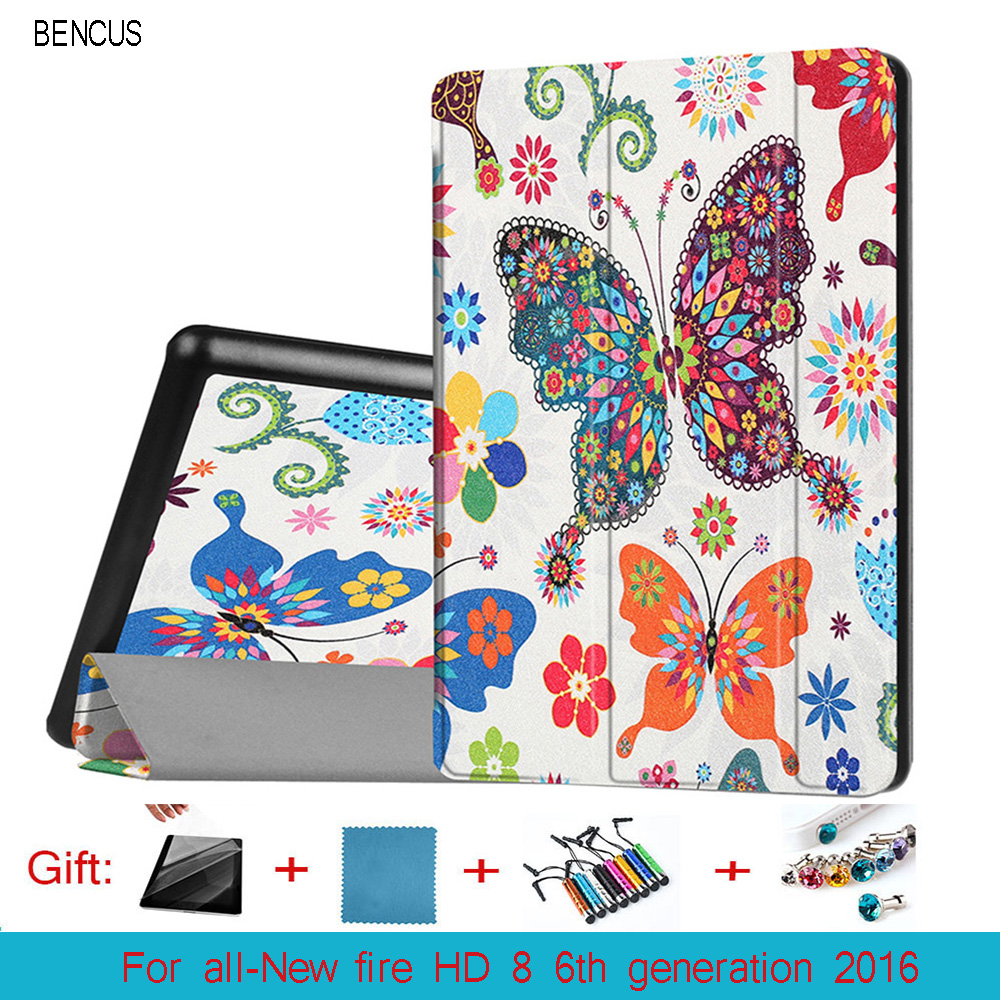 BENCUS All-New Fire HD 8 Kindle eBook Printing 8inch Tablet Case PU Leather Cover for Kindle New Fire HD 8 6th Generation 2016