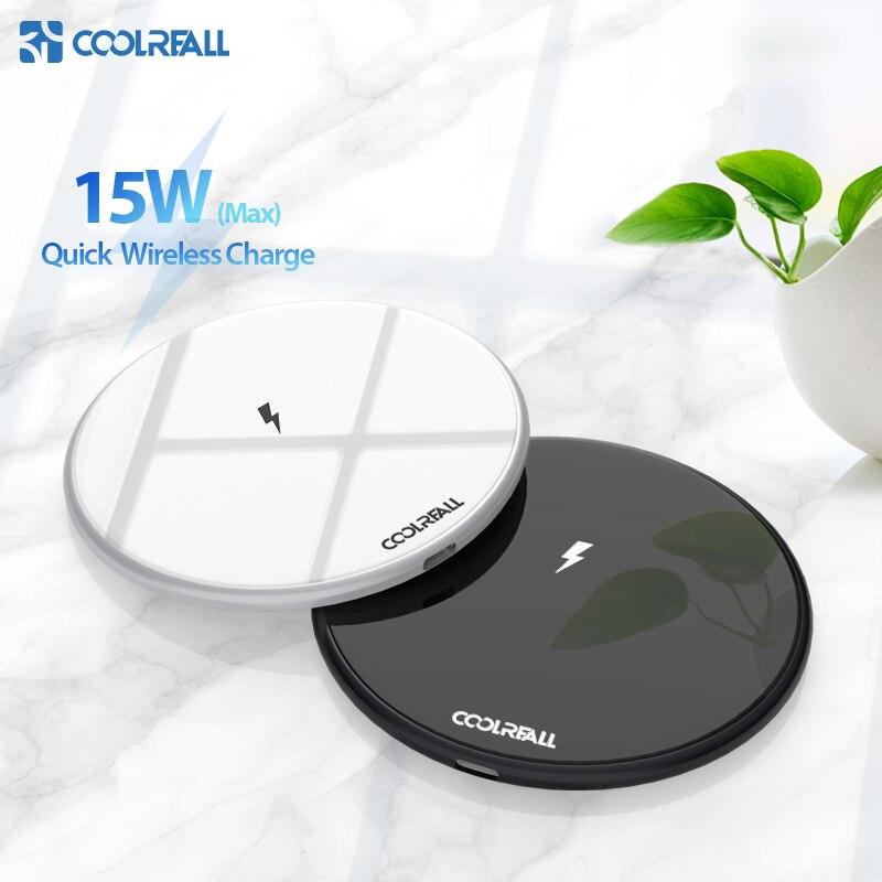 Coolreall 15W Qi Carregador Sem Fio para Samsung S9 S10 iPhone X XS MAX XR 9 8 Plus para Xiaomi huawei P30 pro 10W Carregamento Sem Fio