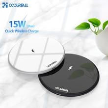 Coolreall carregador sem fio qi 15w, carregador wireless para samsung s9, s10, iphone x, xs, max, xr, 8, plus, xiaomi 9 huawei p30 pro carregamento sem fio 10w