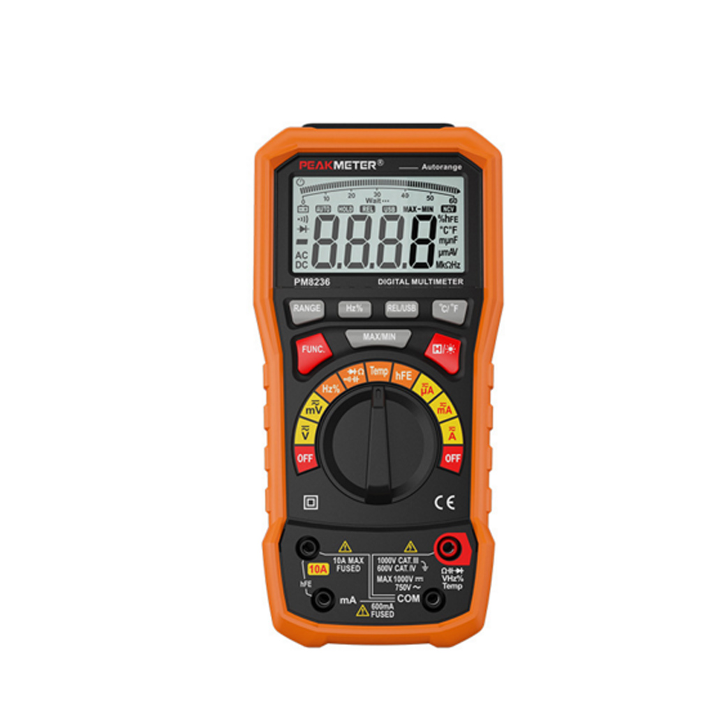 PEAKMETER PM8236 Digital Multimeter T-RMS / USB 1000V 10A 60M 100mF 10MHz Duty Cycle Temperature Voltmeter NultimetroPEAKMETER PM8236 Digital Multimeter T-RMS / USB 1000V 10A 60M 100mF 10MHz Duty Cycle Temperature Voltmeter Nultimetro