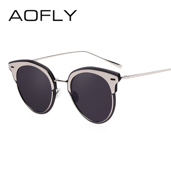Fashion Cat Eye Sunglasses Mirror Coating Lens Women Metal Frame oculos feminino UV400