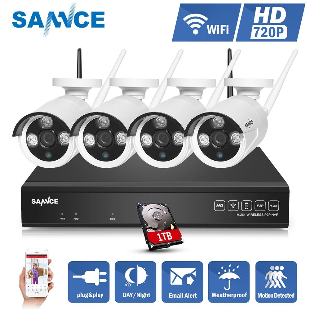 SANNCE 4CH Беспроводной NVR CCTV Системы 720 P IP Камера WI-FI Всепогодный ИК ночного Vison видеонаблюдения Камера наблюдения комплект