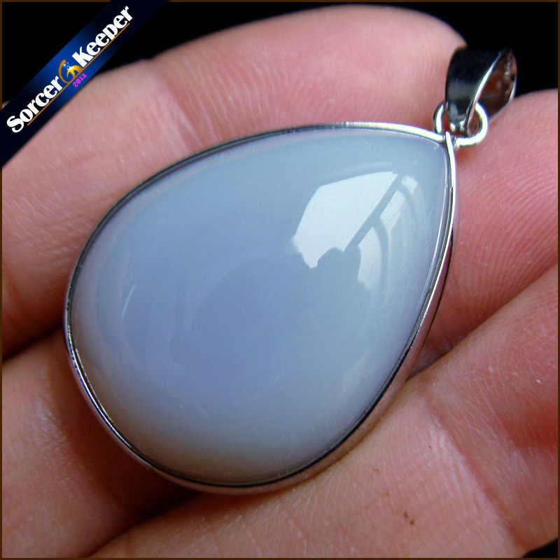 A + gema Natural Real piedra azul Calcedonia Agata cabujón cuentas collar de cristal y colgante accesorios de mujer joyería bijou PS523