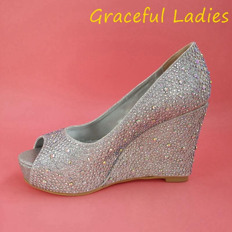 silver rhinestone wedding shoes wedge peep toe 2015