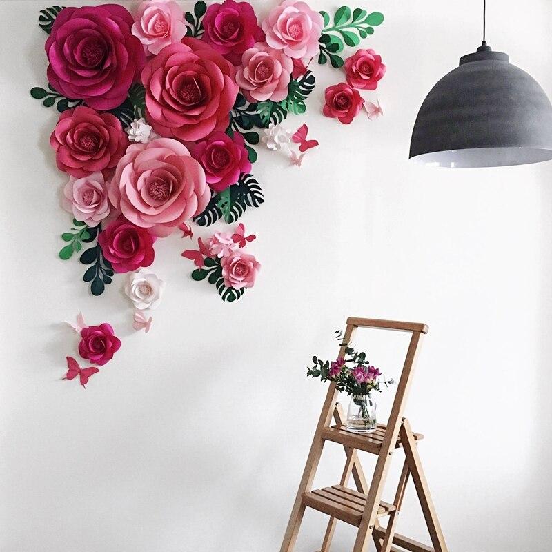 Grande Simulation papier carton Rose spectacle mariage fond événement décoration scène Simulation papier fleur