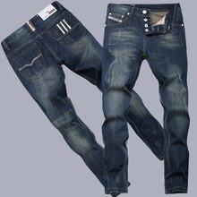 Лидер продаж Модные хлопковые прямые тонкие модели Slim Fit Свободные мужские джинсы классические новые джинсовые мужские джинсы длинные мужской джинсы мужские Штаны