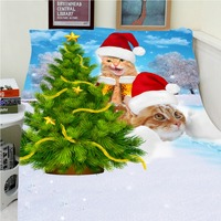 Blankets Warmth Soft Plush Funny Wearing Christmas Hats Cats Christmas Trees Sofa Bed Throw A Blanket