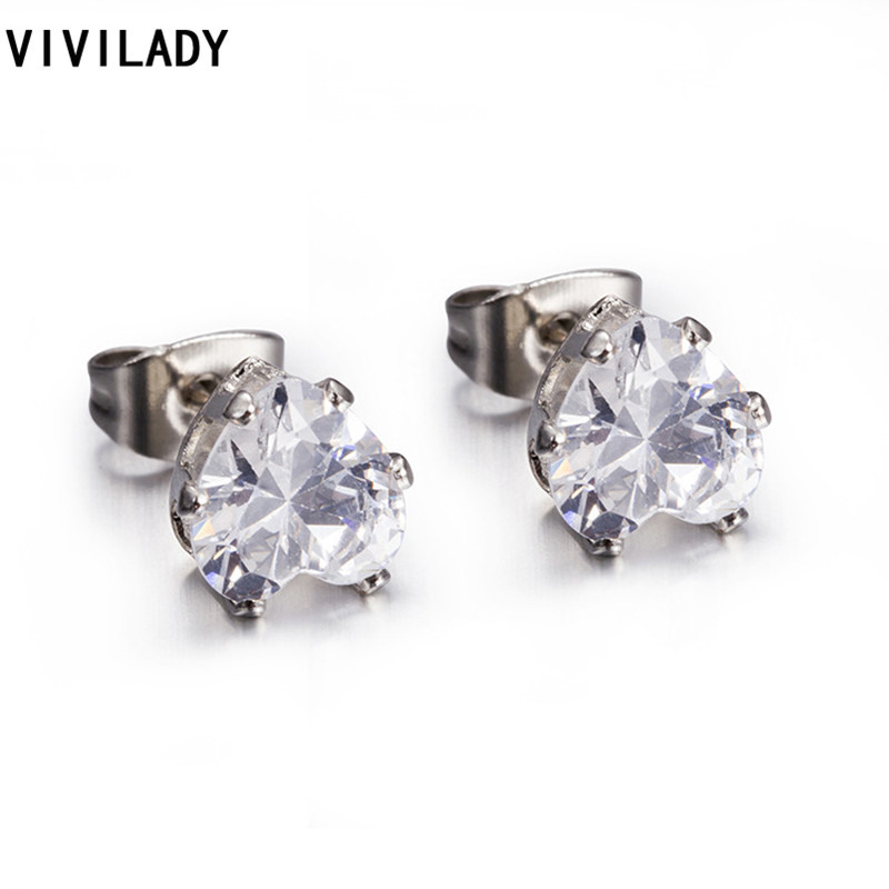 VIVILADY Fashion Heart Clear Zirconia Stud Earrings Women Girl Stainless Steel Nickel Free Classic Jewelry Bijoux Accessory Gift