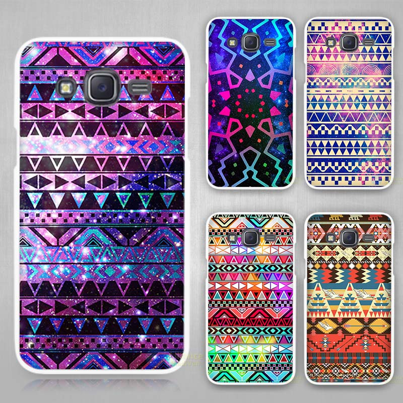 Aztec Art Wallpaper Hard White Case Cover For Samsung Galaxy J1 J2