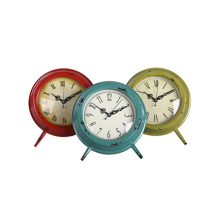 Garden Decor Small Circular Clock Iron Crafts Vintage Table Clock