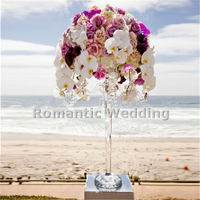 Free shipment 4PCS/lots 4 arms crystal candle holder flower lead road for Wedding decorations event products party decorations