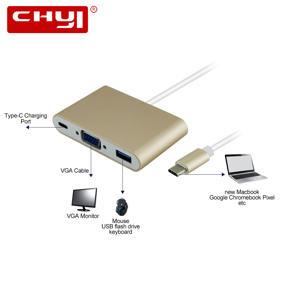 USB 3.1 Type-C To VGA Multi-Port USB 3.0 Type C Adapter Male to Female Converter Hub USB Charging Port For New Macbook 12 inch wholesale laptop usb 3 0 male to usb 3 1 type c female data converter desktop usb c type c to usb c female port otg adapter