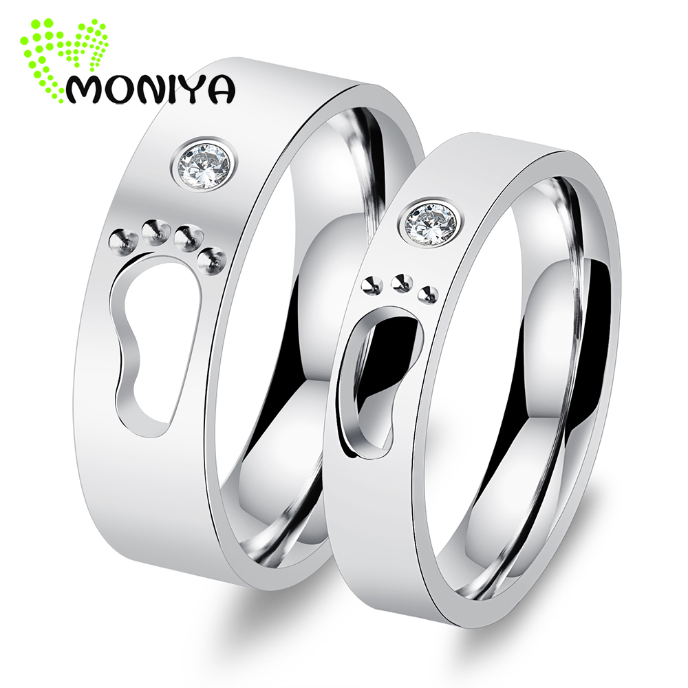 Moniya Personalized Stainless Steel Cubic Zirconia Wedding Rings For Couple  Promise Jewelry Romantic Gift Wholesale Hj250