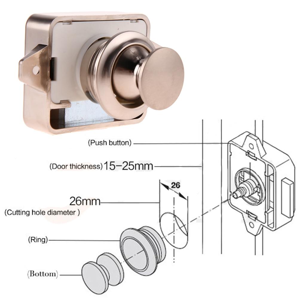 Zinc alloy Large Push Lock Button Catch Lock Cupboard Door Knob Camper  Caravan Motorhome RV Cabinet Drawer Push Latch
