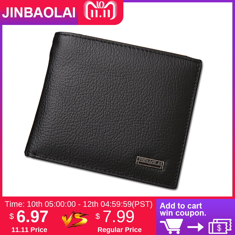 Luxury Genuine Leather Wallet Fashion Short Bifold Casual Male Wallet Soild Men Wallets With Hasp Coin Pocket Purses Card Holder williampolo men wallets male purse genuine leather wallet with coin pocket zipper short credit card holder wallets leather