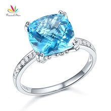 Peacock Star 14K White Gold Wedding Anniversary Ring 4.5 Ct Cushion Swiss Blue Topaz Diamond