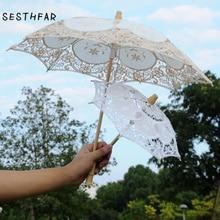 BIG SIZE  Lace Wedding Umbrella Handmade Cotton Embroidery  Bridal Umbrella Decorations Free Shipping