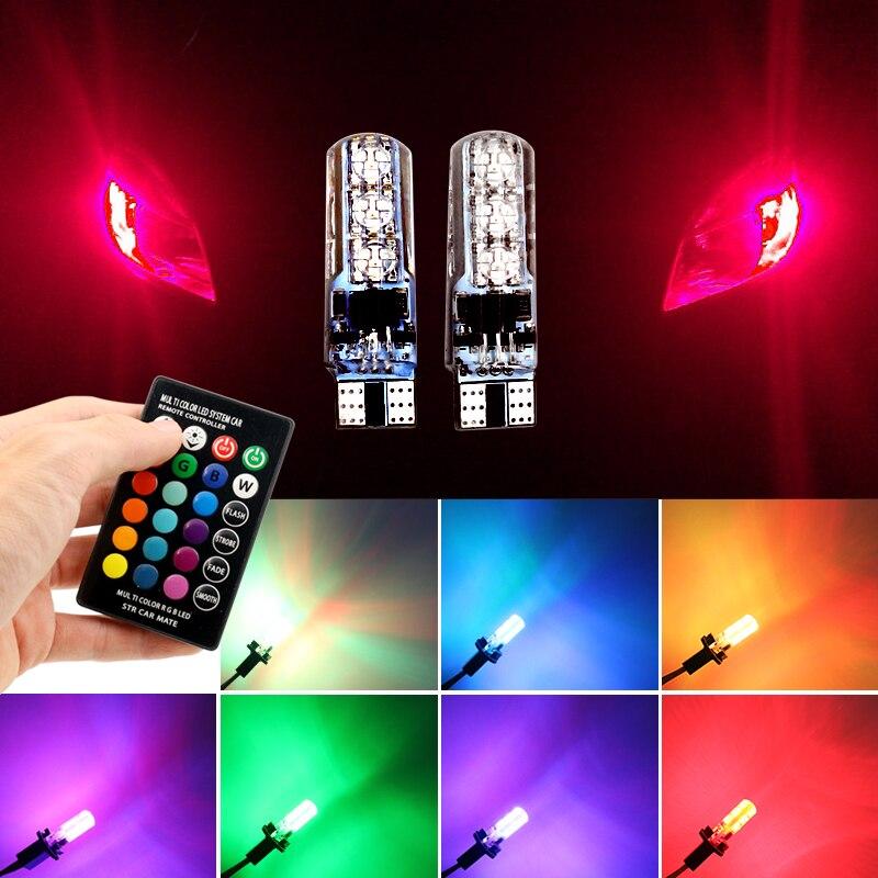 2 шт. <font><b>5050</b></font> SMD RGB T10 194 168 <font><b>W5W</b></font> автомобиля купола чтения света автомобилей Клин лампы RGB <font><b>LED</b></font> лампа с пульт дистанционного управления Flash/Строуб