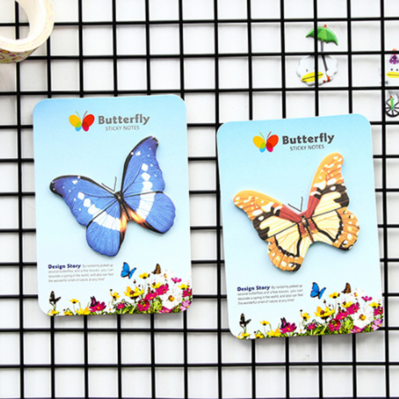 Korea Creative Stationery Butterfly Sticky Notes Post Planner Notepad Self Adhesive Memory Stick Fridge Decorative Message Paste