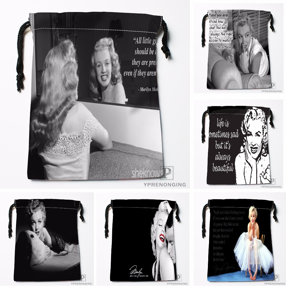 Custom Marilyn Monroe Drawstring Bags Printing Travel Storage Mini Pouch Swim Hiking Toy Bag Size 18x22cm#180412-11-61