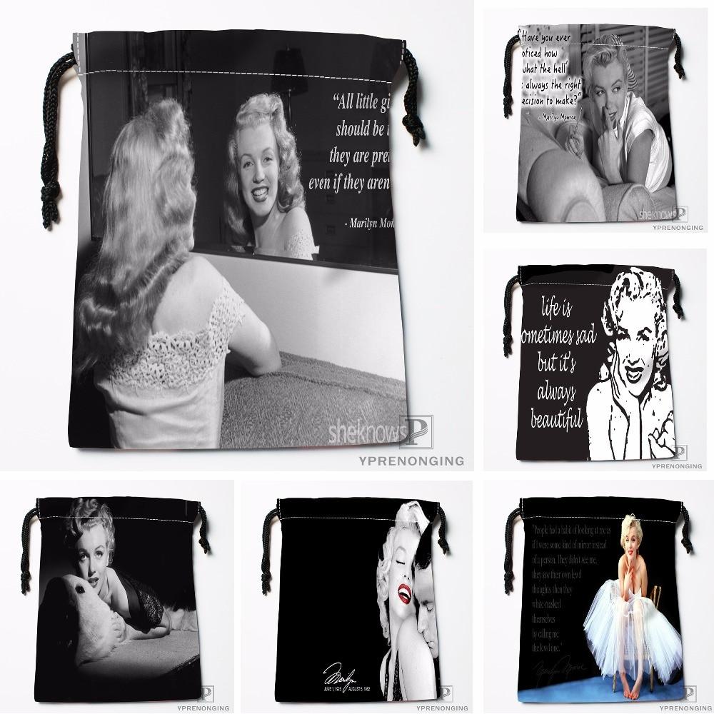 Custom Marilyn Monroe Drawstring Bags Printing Travel Storage Mini Pouch Swim Hiking Toy Bag Size 18x22cm#180412-11-61