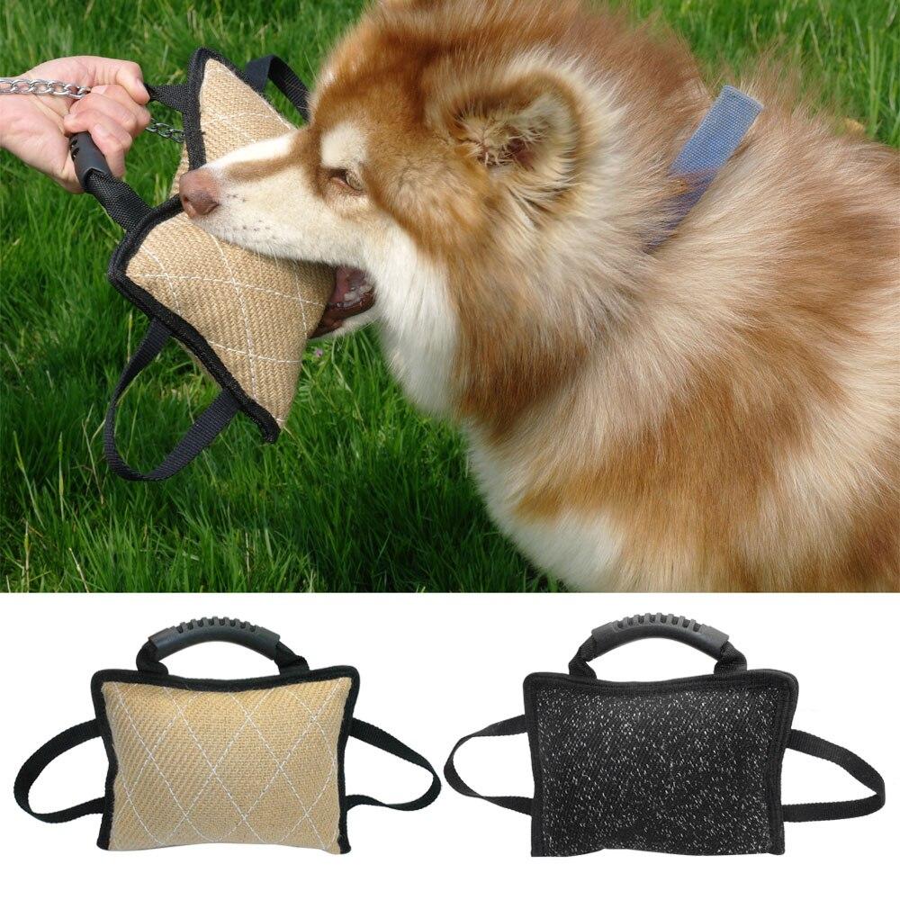 Dog Tug Toy Agility: 17*26cm Dog Training Tug Linen Bite Pillow With 3 Handles
