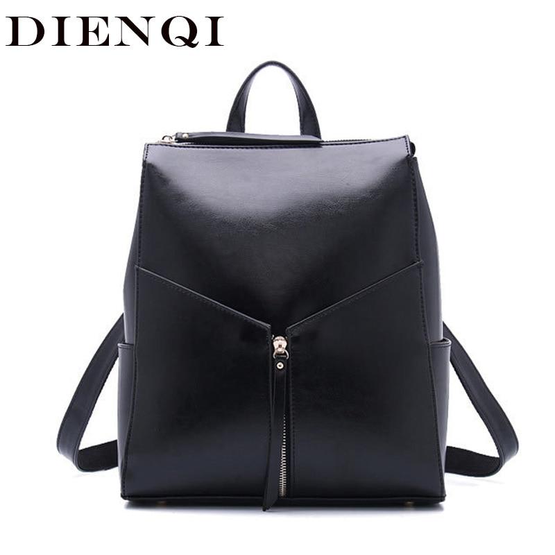 DIENQI Fashion female genuine leather women backpack feminine backpack for teenager girls school bag backbag schoolbag