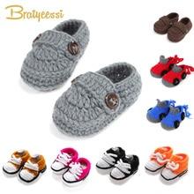 Fashion Buckle Baby Boy Shoes Handmade Knitting Crochet Boot