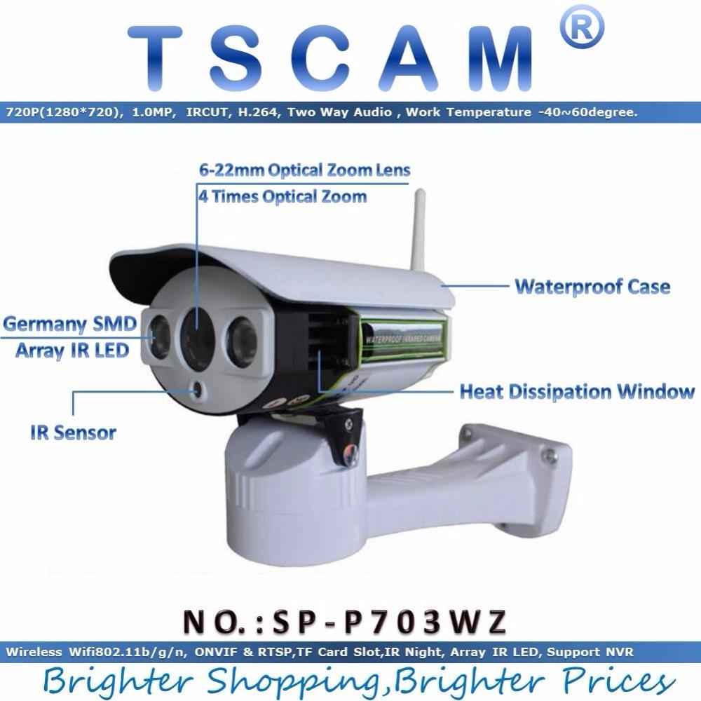 TSCAM SP P703WZ Wireless Wifi 720P HD Pan Tilt Zoom IP Network Camera Outdoor waterproof PTZ
