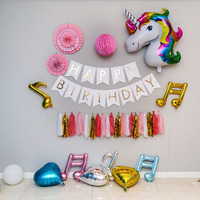 DIY Decoration Pink Style Sets Paper Fan Colorful Honeycomb Ball Birthday Flags Party Tassel Unicorn Double