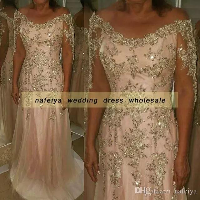 vestido novia three quarter sleeve 2018 A-line Pink Long Off the Shoulder Lace Appliques Vintage mother of the bride dresses