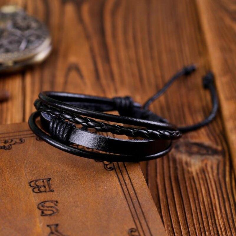 Rope Men Hand-woven Fashion Bracelet Bangle Multi-color Cuff Adjustable Simple Leather Charm Boyfriend Girlfriend Bracelets