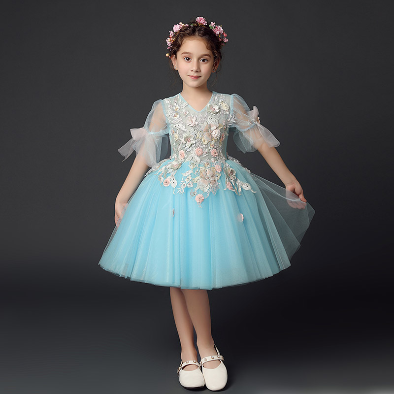New Appliques Kids Pageant Evening Gowns Ball Gown Flower Girl Dresses For Wedding First Communion Dresses For Girls S264 2017 pink flower girl dresses for wedding puffy ball gowns first communion dresses for girls pageant dresses kids evening gowns