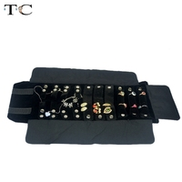 Black/Grey Velvet Jewelry Roll Bag For Ring Earrings Organizer Jewellery Storage Portable Necklace Display Cases