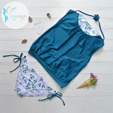 SESEASUN Tankini Swimsuit Two Piece Swimming Suit Bikini Set Bra Tankini Short Push Up Strap Bikini Teen Girls Swimwear Women